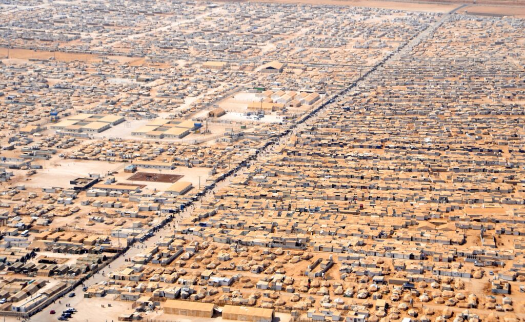 An aerial view of the Zaatari refugee camp in Jordan as seen on July 18, 2013, from a helicopter carrying U.S. Secretary of State John Kerry and Jordanian Foreign Minister Nasser Judeh.