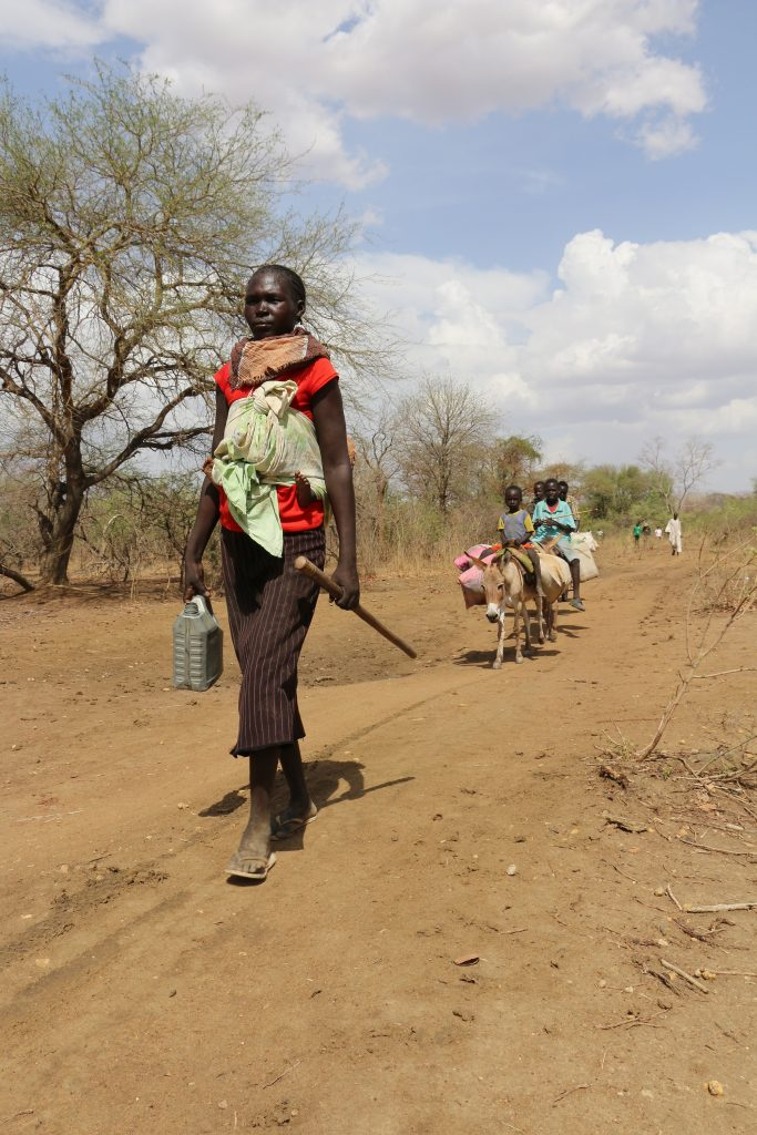 A family from South Sudan's Northern Bahr el-Ghazal state walks towards the border.