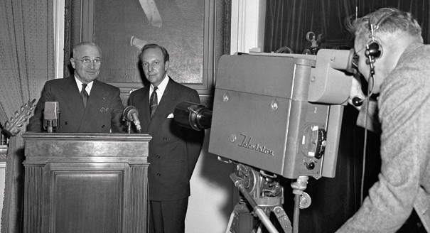 President Harry Truman gives the first televised presidential address on hunger in 1947.