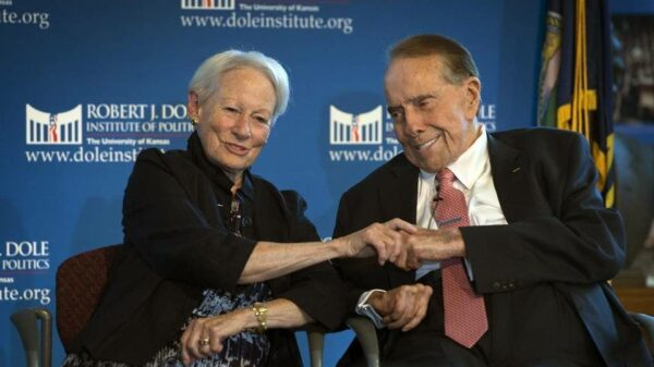 Dole is pictured in this September 2016 file photo with former Sen. Nancy Kassebaum at the Robert J. Dole Institute of Politics in Lawrence