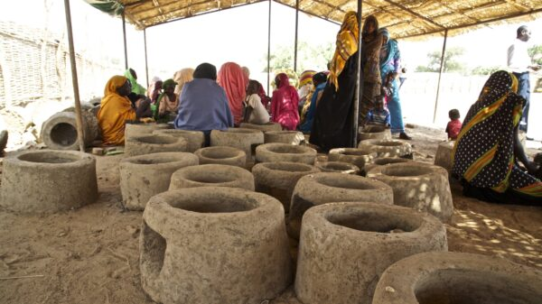 Clay stoves created by women in West Darfur sit ready to be used for cooking.