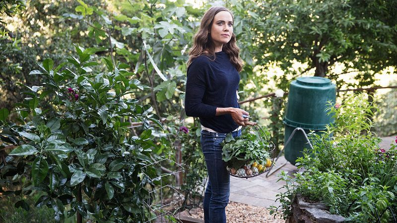 As a professional athlete, cook and urban farmer, Natalie Coughlin believes in the power of good nutrition to unlock potential. Here she is, standing in her garden in California.