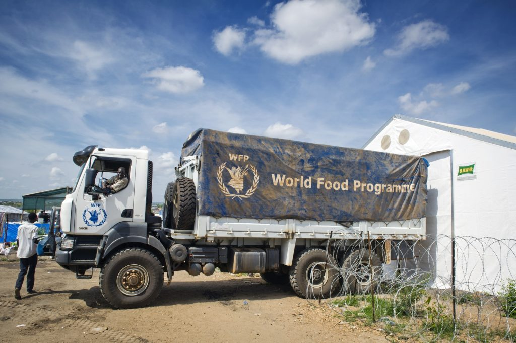 A WFP truck outside a warehouse in South Sudan
