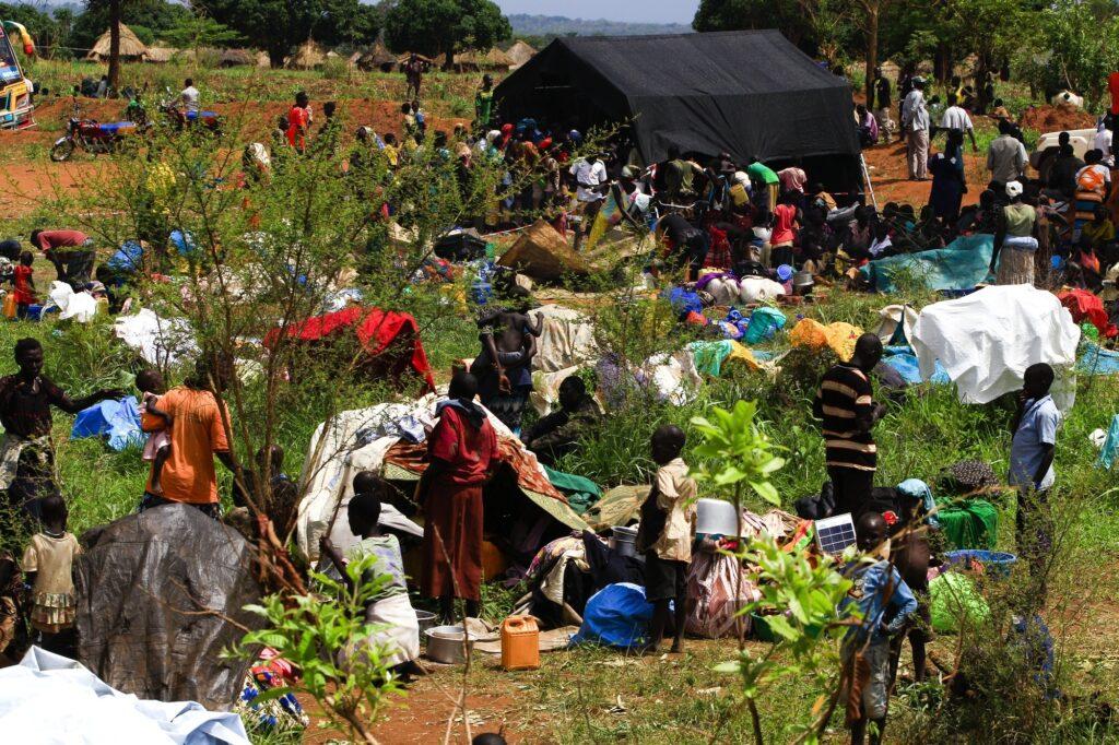 South Sudanese refugees in Ngomoromo.