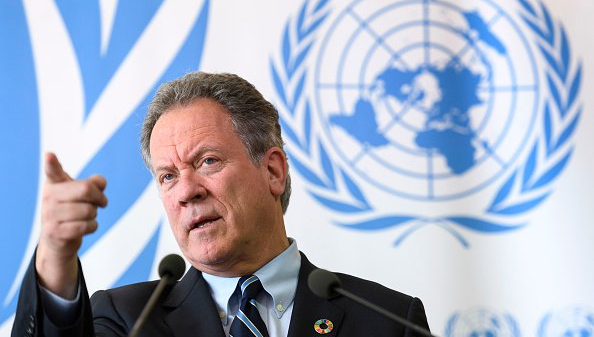WFP ED David Beasley attends a press conference about an aid appeal for South Sudan on May 15, 2017 at the UN Office in Geneva