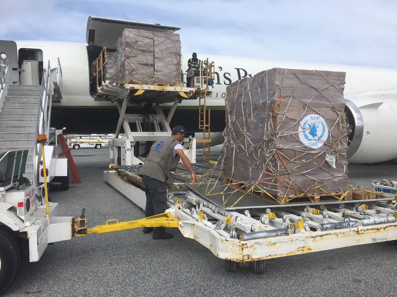 A man stands over a shipment of WFP boxes that are being hauled out of an airplane