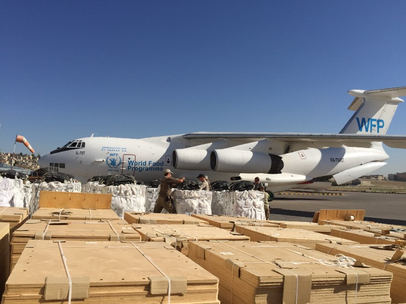 pallets and boxes are loaded onto a cargo plane