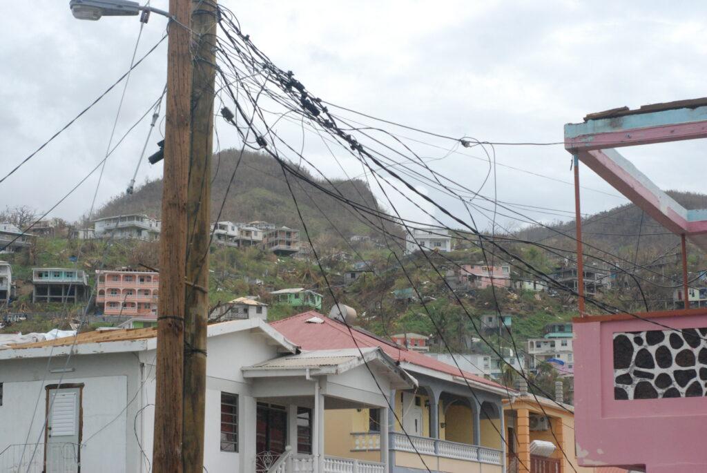 Downed phone lines in Dominica