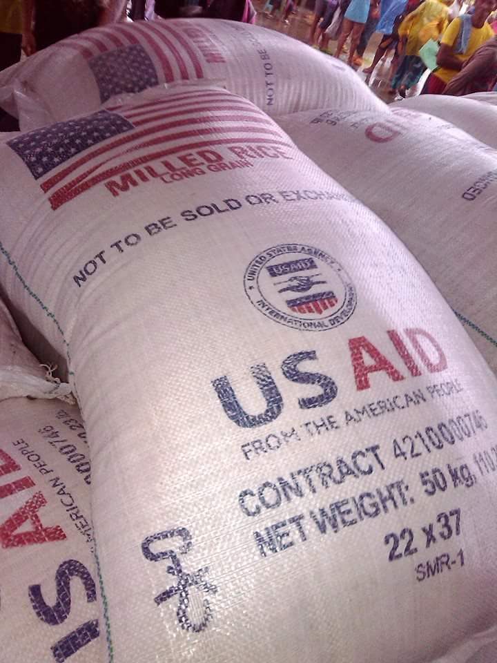 A USAID bag of rice