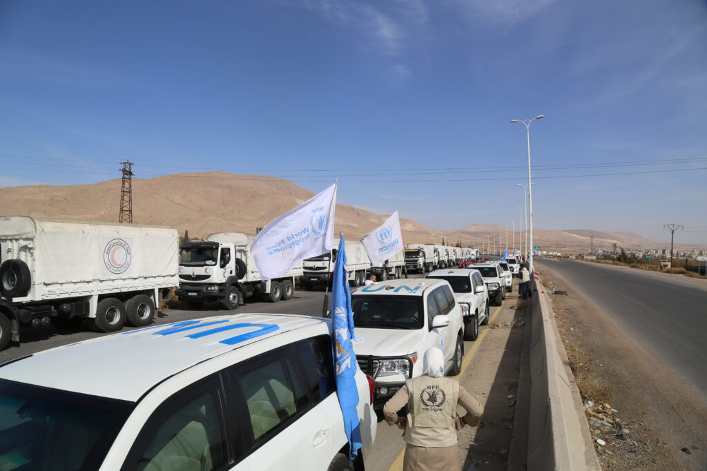 A UN humanitarian convoy carrying food and medicine reaches Eastern Ghouta in November 2017.