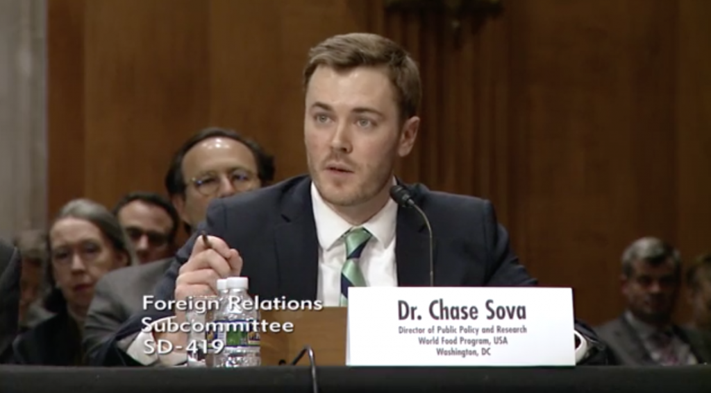"""Dr. Chase Sova, WFP USA's Director of Public Policy and Research, shares the findings of the organization's """"Winning The Peace"""" Report during a Senate hearing in Washington, D.C."""