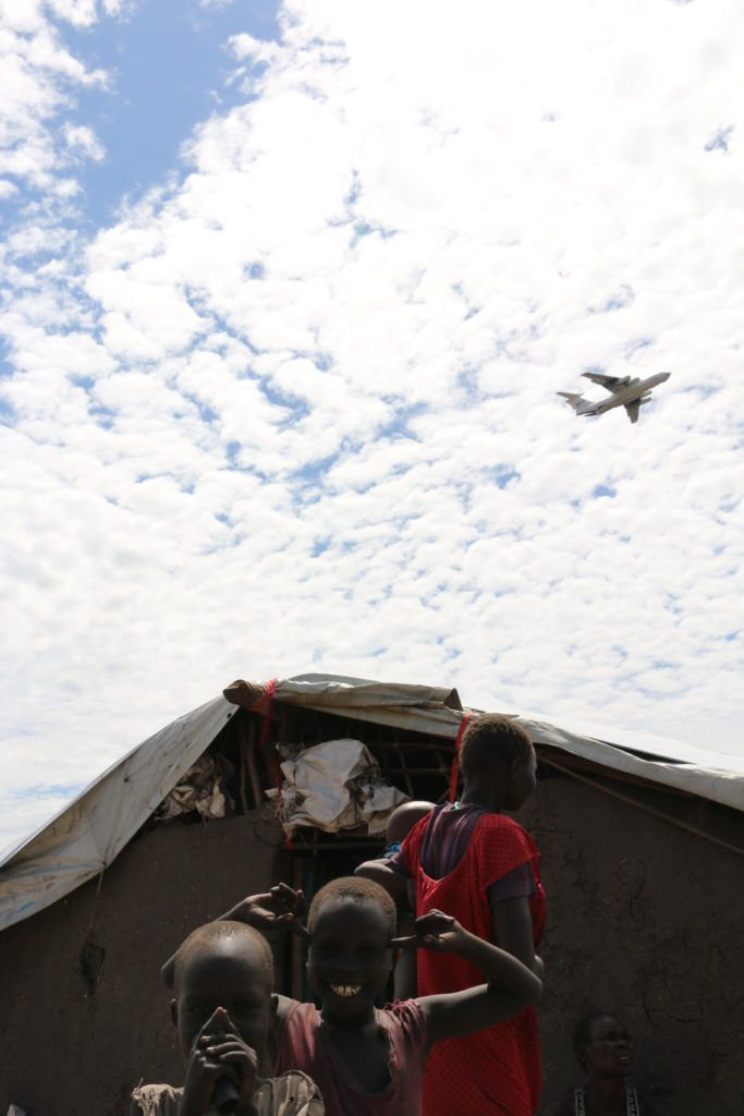 A WFP Ilyushin 76 prepares to airdrop much-needed food assistance over a drop zone in Ganyiel, Unity State.