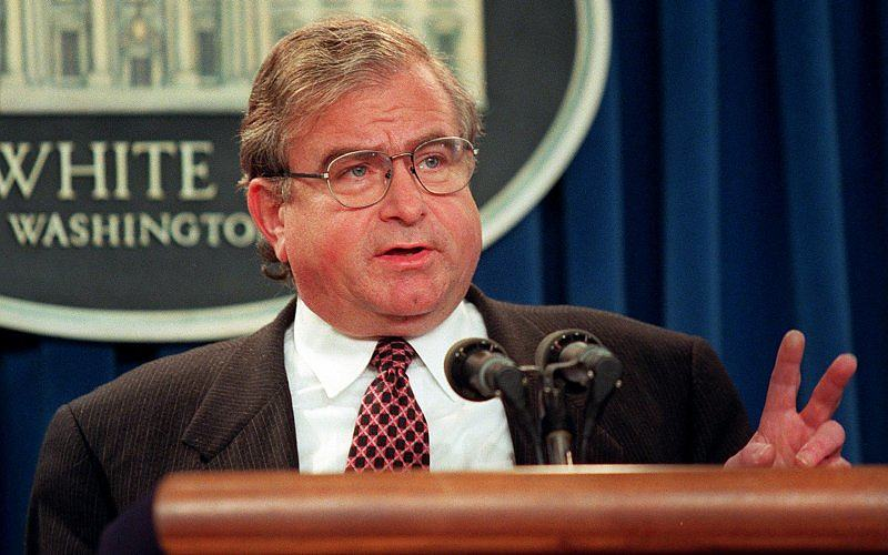 """Former National Security Advisor and WFP USA Board member Samuel """"Sandy"""" Berger speaks at a White House press conference."""