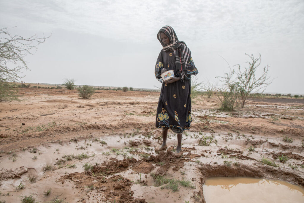 A woman stands in a dry field, throwing seeds.