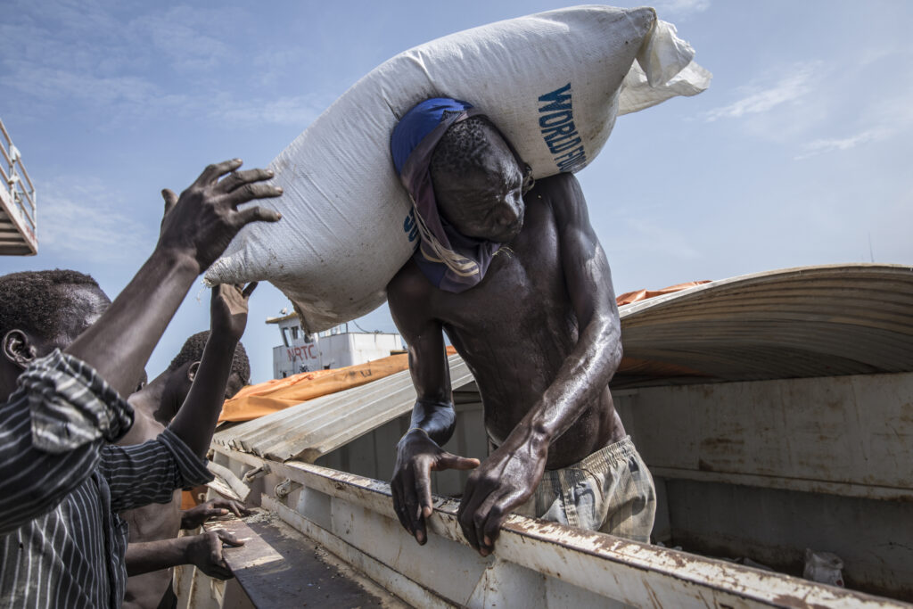 A river barge being offloaded in South Sudan