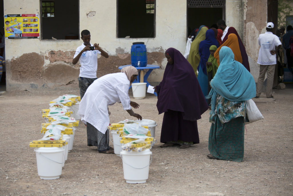 nurses prepare sanitation kits at a Cholera Treatment Centre (CTC) in Wajid