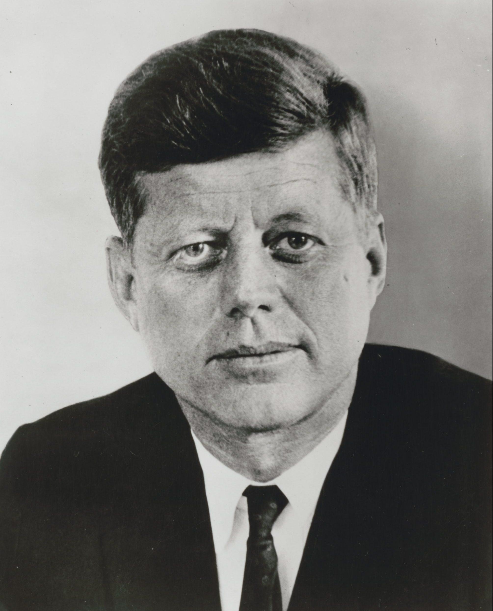 black and white photo of John F. Kennedy