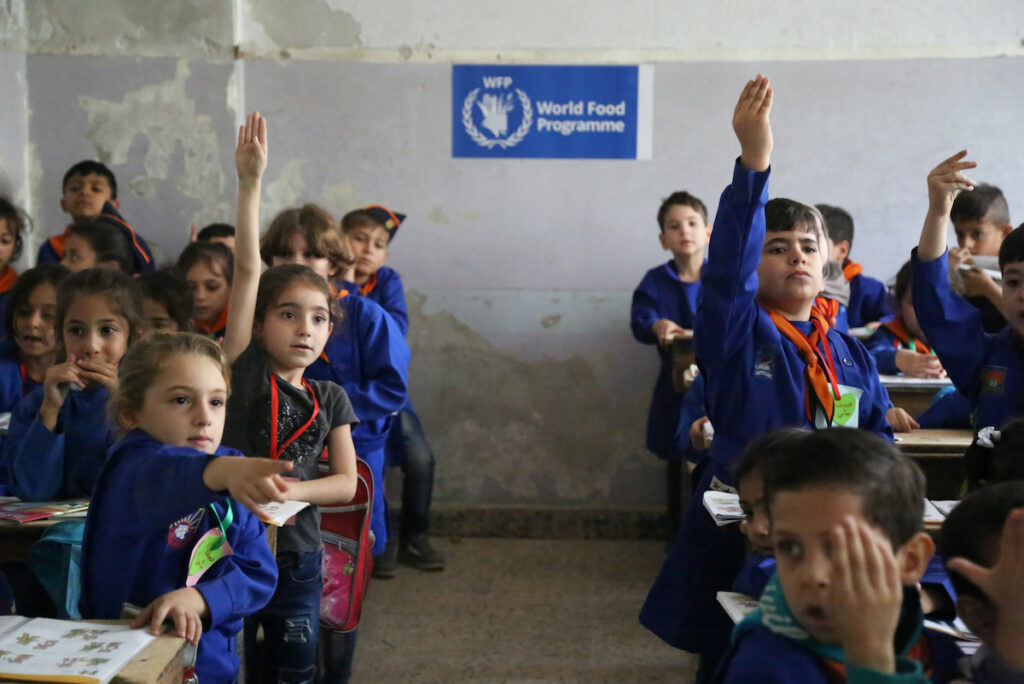 Syrian students are pictured in a classroom