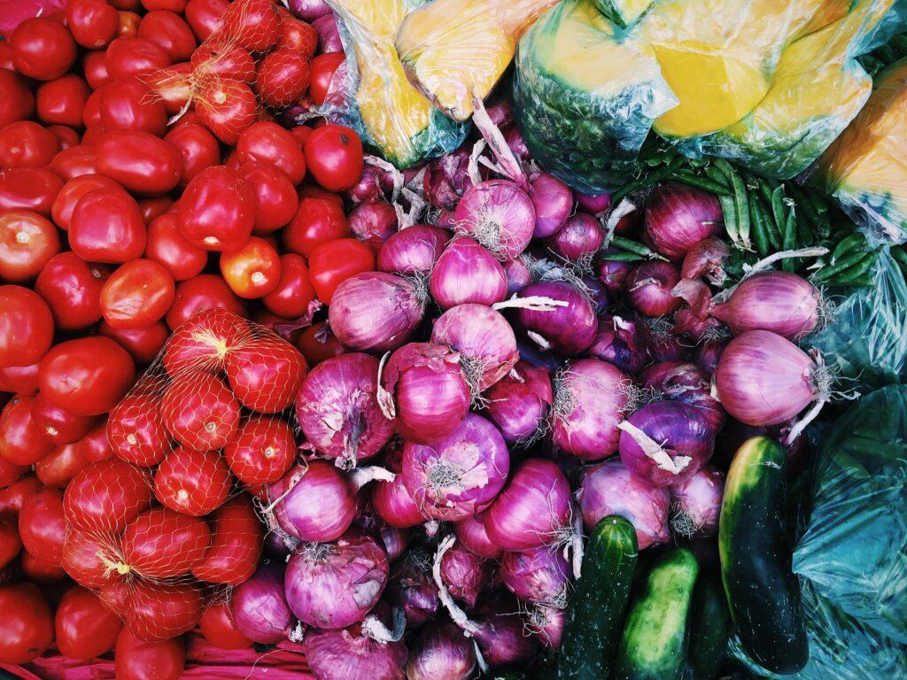 Colorful vegetables displayed at a market.