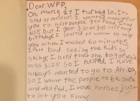 A handwritten note from a child