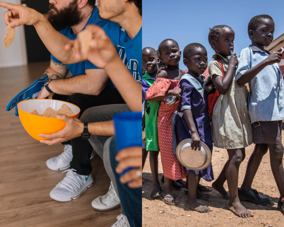 A side by side photo of men with snacks at a football party, and kids lined up with plates waiting for school meals.