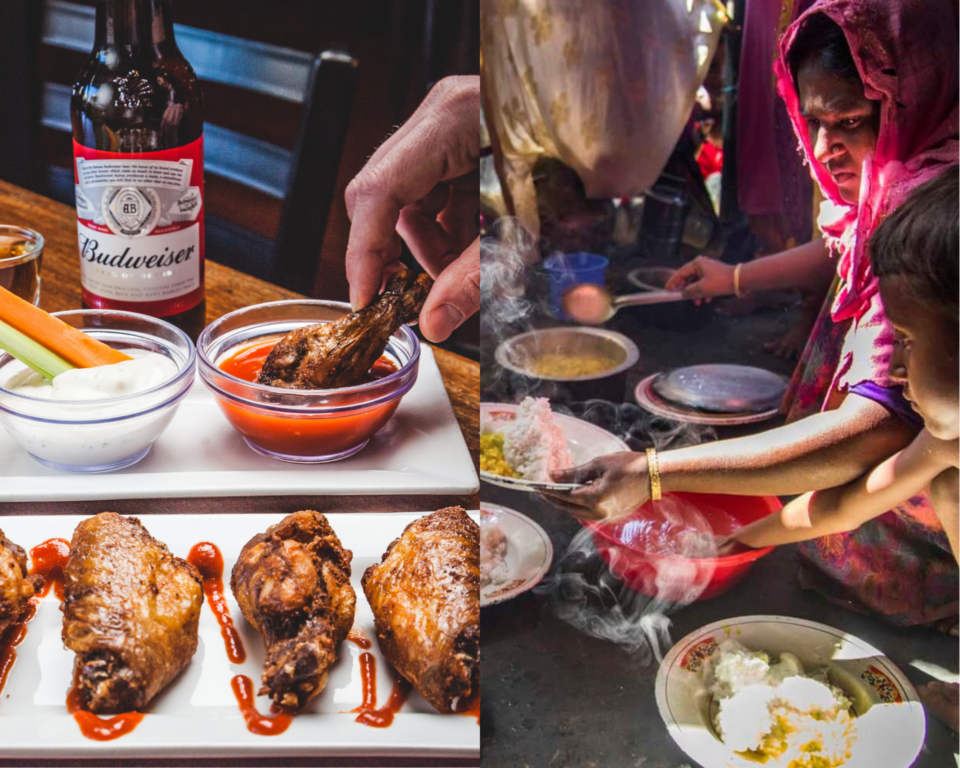 Side by side images of football food and a mother and son preparing a meal together.