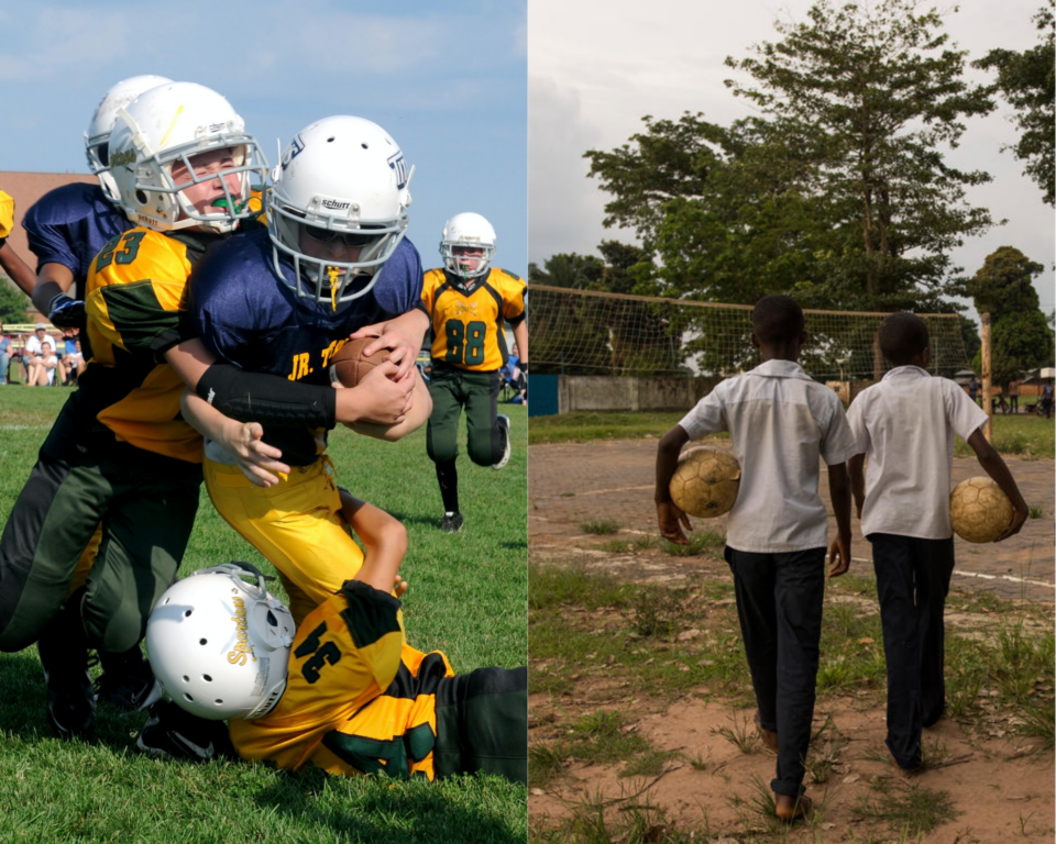 Side by side image of young American football players next to kids walking with soccer balls.