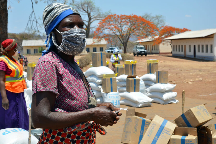 WFP food delivers help people suffering from hunger and famine, worsened by Coronavirus.
