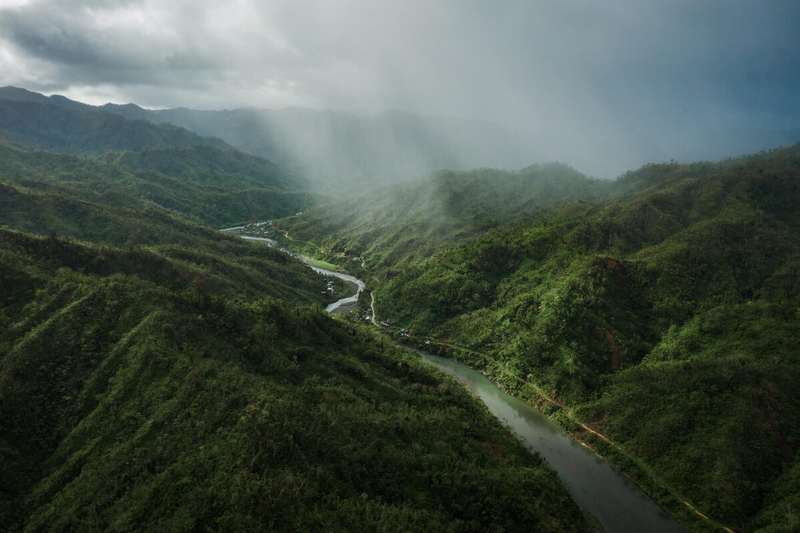 Storm coming in over mountains in the Philippines