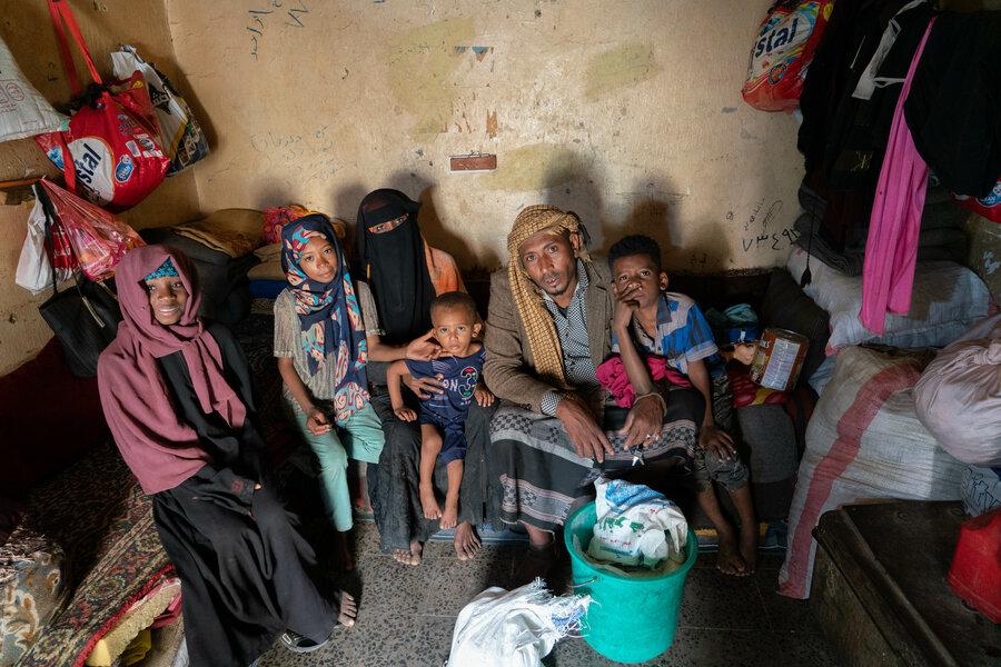 Yemeni family sitting together