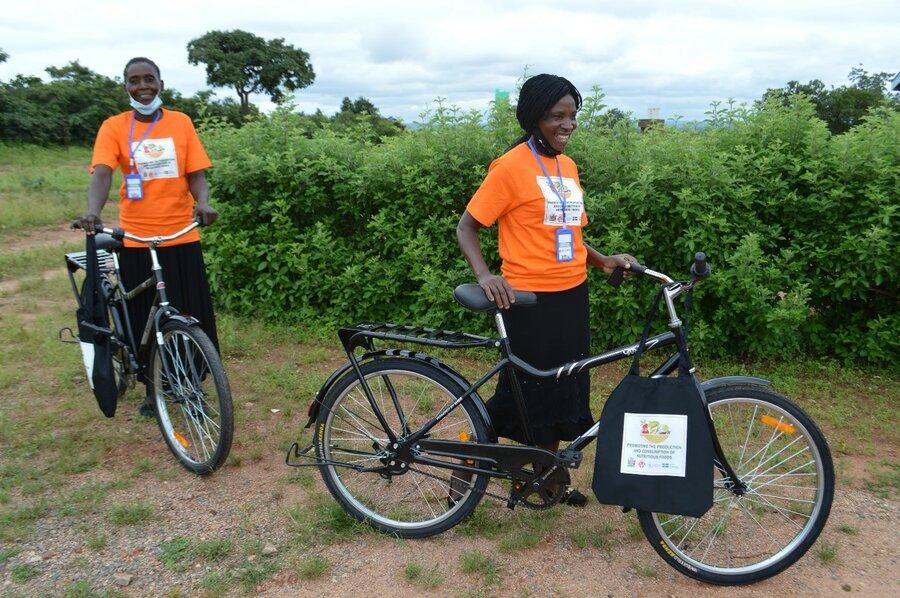 women with bikes