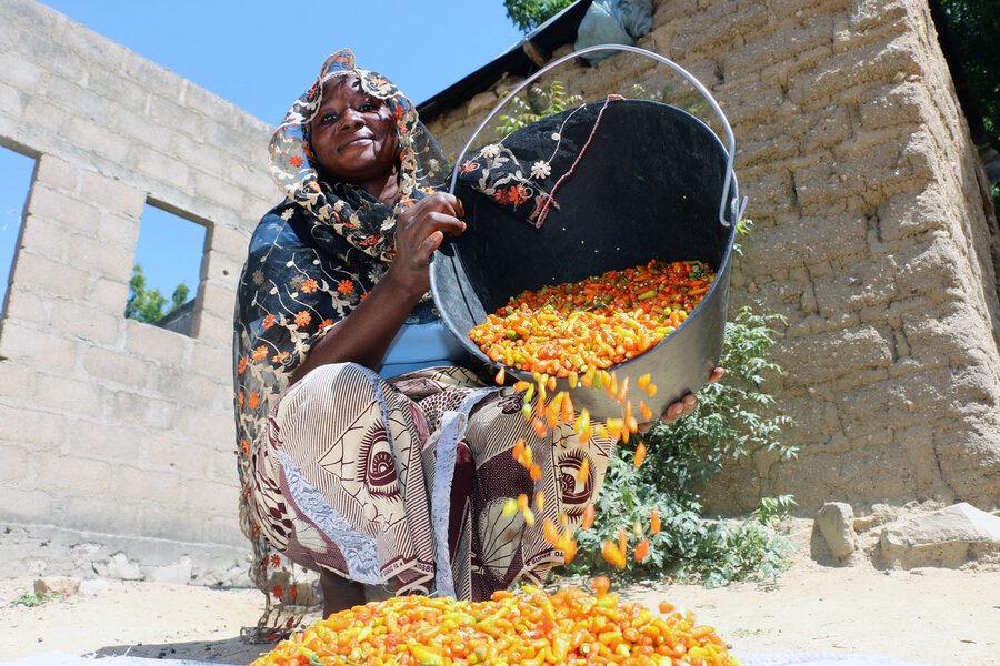woman in blue dress pours out colorful peppers