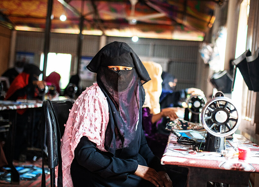 Rohingya women sew products from upcycled packaging in Cox's Bazar refugee camp