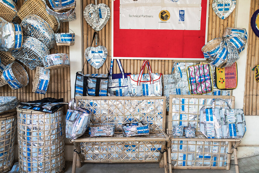 upcycled aluminum bags made from UN WFP packaging in Cox's Bazar refugee camp