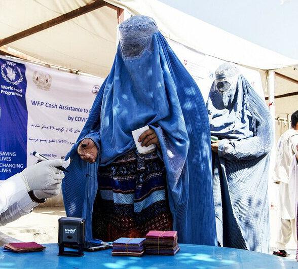woman in blue burqa