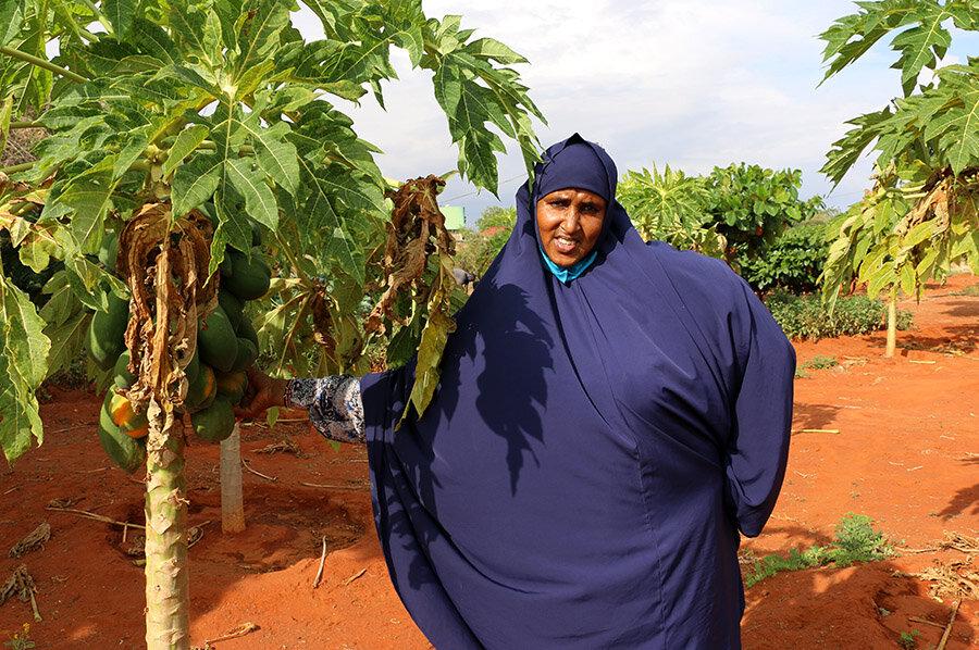 woman in blue full headscarf