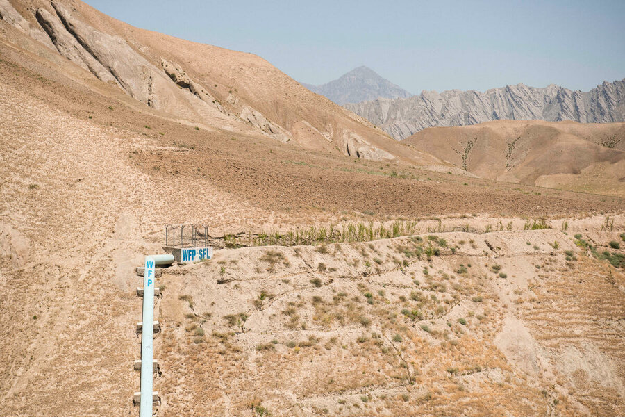 desert landscape with pipes of water