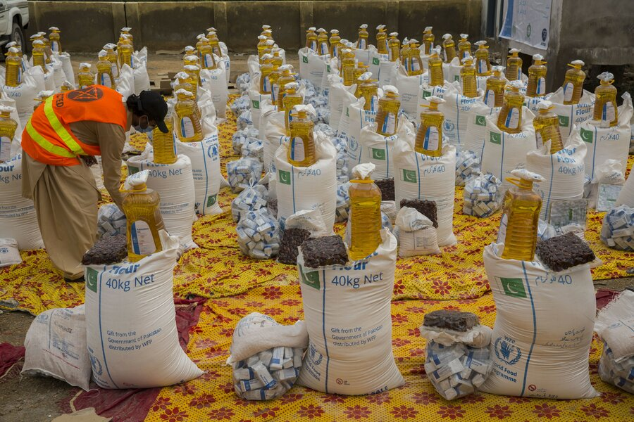 bags of food lined up by row
